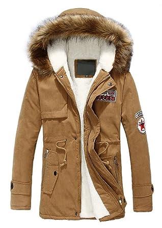 Ghope Herren Jacke Kapuze Winterjacke Winter Mantel Jacket Jungen Warm  Parka Westen Hoodie Lang Baumwolle Fleece