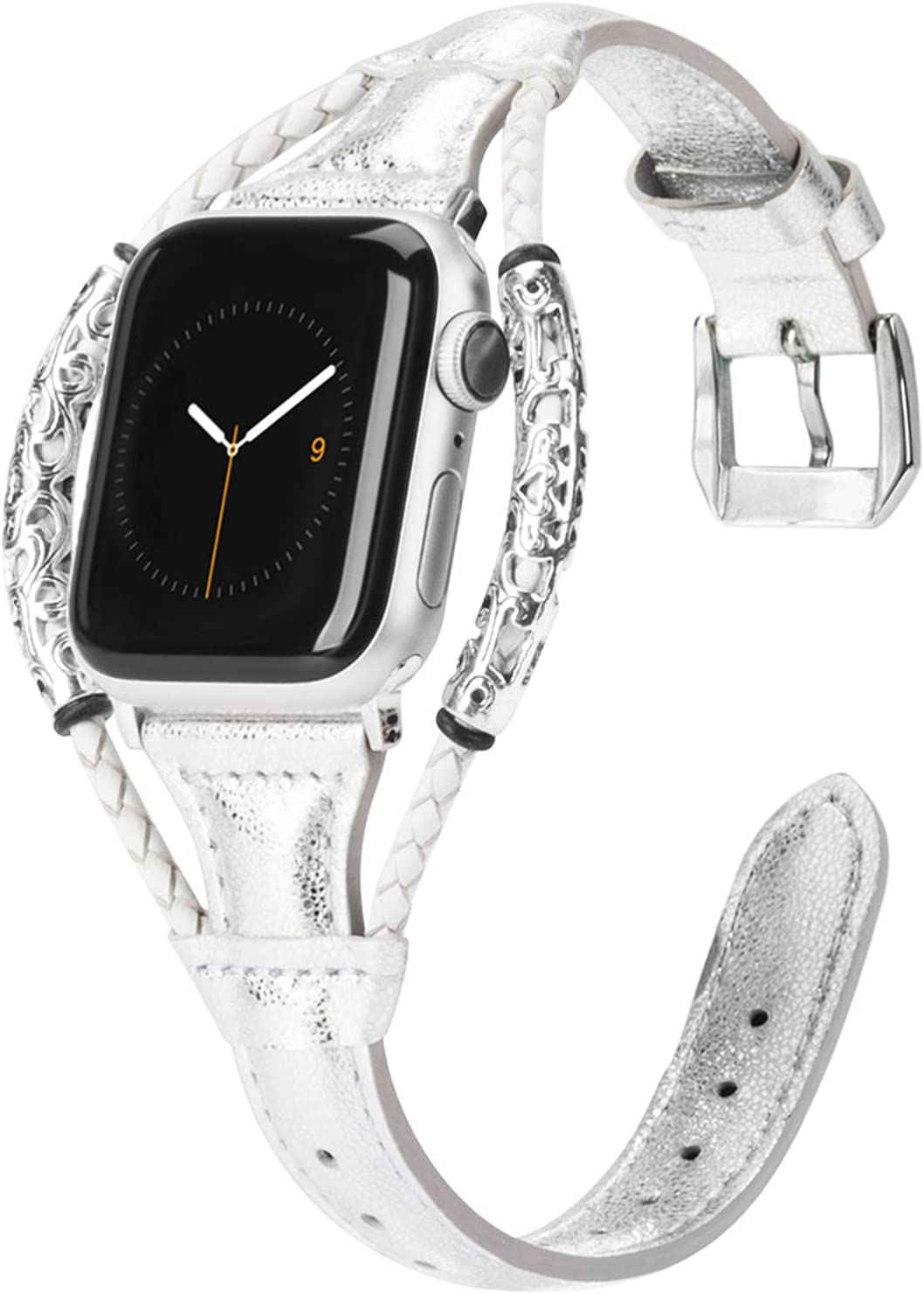 Moolia Vintage Leather Band Compatible with Apple Watch Bands 44mm 42mm Women, Genuine Leather iWatch Bands Straps Wristbands Bracelet Accessories for Apple Watch Band Series 6 5 4 3 2 1 SE, Silver