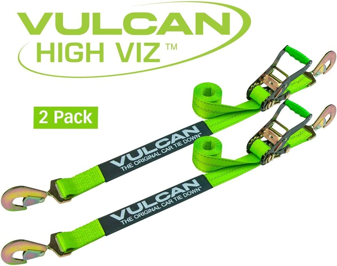 3,300 Pound Safe Working Load VULCAN Auto Tie Down with Twisted Snap Hooks 2 Pack 96 Inch PROSeries