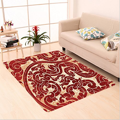 Nalahome Custom carpet que Decor Thai Culture Vector Abstract Background Flower Pattern Wallpaper Design Print Burgundy area rugs for Living Dining Room Bedroom Hallway Office Carpet (6' X 9') Burgundy Solids Braided Rug