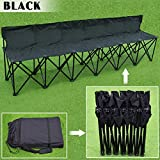 Strong Camel Portable 6 Seater Team Sports Sideline Bench Sits Outdoor Waterproof Folding Foldable (Black)