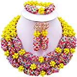 aczuv Nigerian Beaded Necklace Crystal Jewelry Sets African Wedding Beads for Brides Bridesmaids