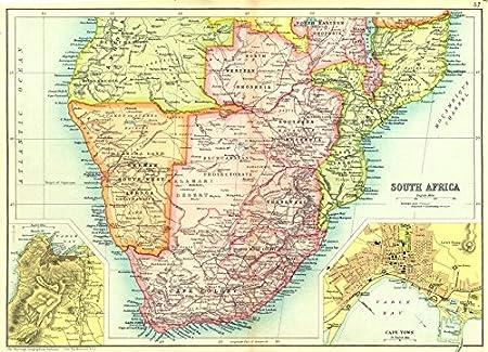Map Of South Africa And Zimbabwe.South Africa Rhodesia Zimbabwe Botswana Namibia Mozambique Cape