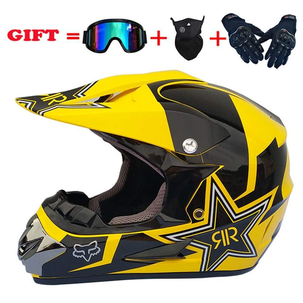 モトクロスデュアルスポーツヘルメット、D.O.T認定アダルトオートバイグローブゴーグルマスクコンボ防風フルフェイスヘルメット4個セット、星、XL、黄色、L,黄色、大