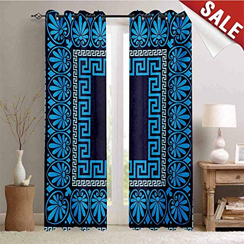 Hengshu Greek Key Window Curtain Drape Grecian Meandros Pattern with Intricate Lines Floral Figures in Blue Shades Customized Curtains W84 x L96 Inch Blue Dark Blue