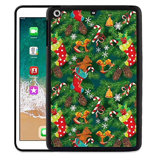 Pad Case Fit for iPad Mini 2 [2013] (7.9-Inch) Christmas Xmas Accessories Stockings Candies Horse Teddy Bear Toys on Pine Dark Green Brown and Red