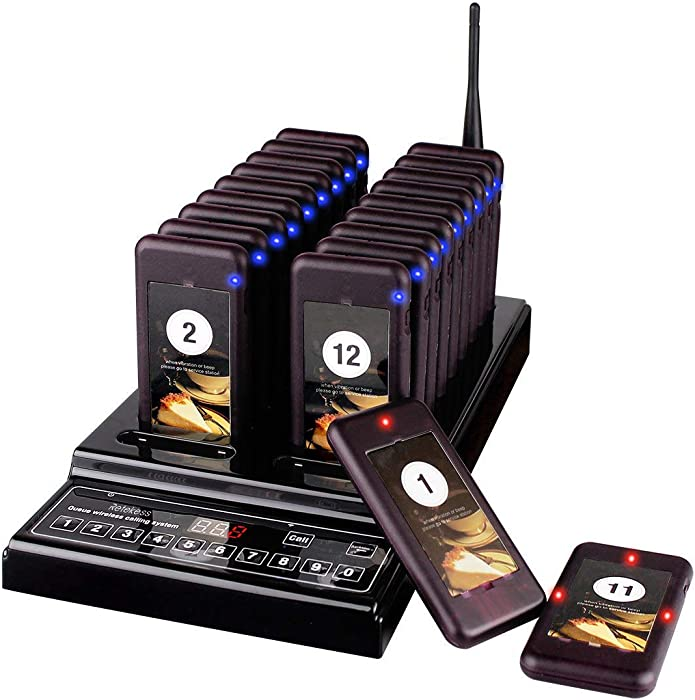 Retekess T112 Restaurant Paging System Social Distancing Buzzer Max 999 Pagers with 20 Coaster Pagers for Church Clinic Food Truck Hospital Transport
