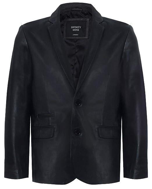the best attitude 26bb8 283b1 Infinity Leather Blazer in Vera Pelle Nera da Uomo Cappotto ...
