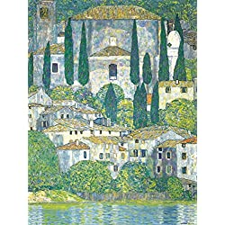 Posters: Gustav Klimt Poster Art Print - Church In Cassone At The Lake Garda, 1913 (32 x 24 inches)