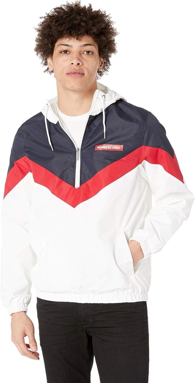 Members Only Men's Colorblock Pullover Half-Zip Hooded Jacket