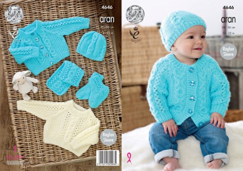 King Cole Baby Aran Knitting Pattern Raglan Sleeve Sweater Cardigan Hat Scarf & Booties ()