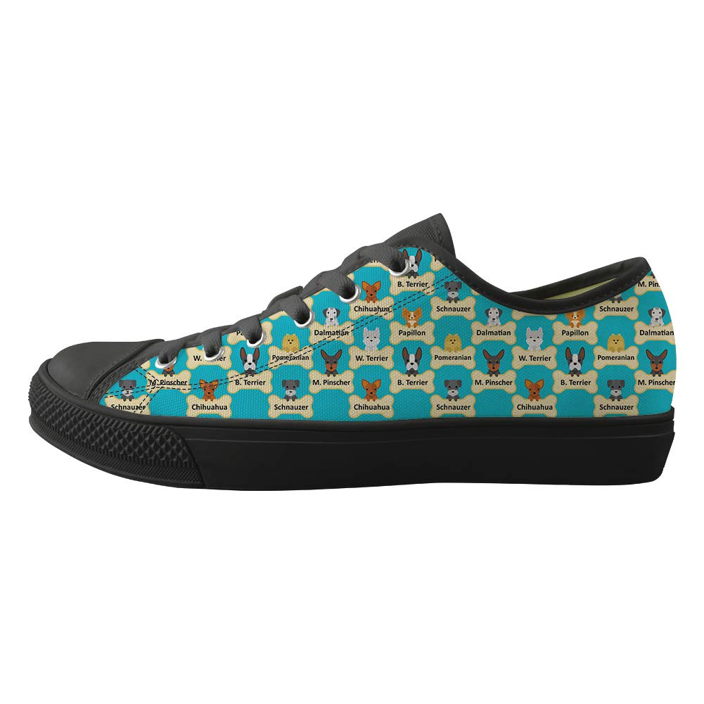 Classic Sneakers Unisex Adults Low-Top Trainers Skate Shoes Chihuahua Dogs and Their Bone Nameplates