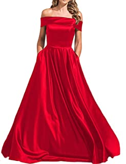 Stillluxury Shoulder Satin Evening Gowns With Pocket Long Bridesmaid Dresses Plus Formal E64A