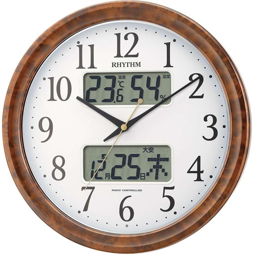 名入れプレート付き 電波_掛け時計 ピュアカレンダーM617SR 名入れプレート付 き 茶色木目仕上(白) 4FY617SR23 B075L25K9H