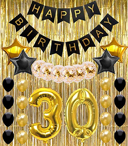 30th Birthday Decorations Party Supplies Happy Banner Balloons Gold And Black