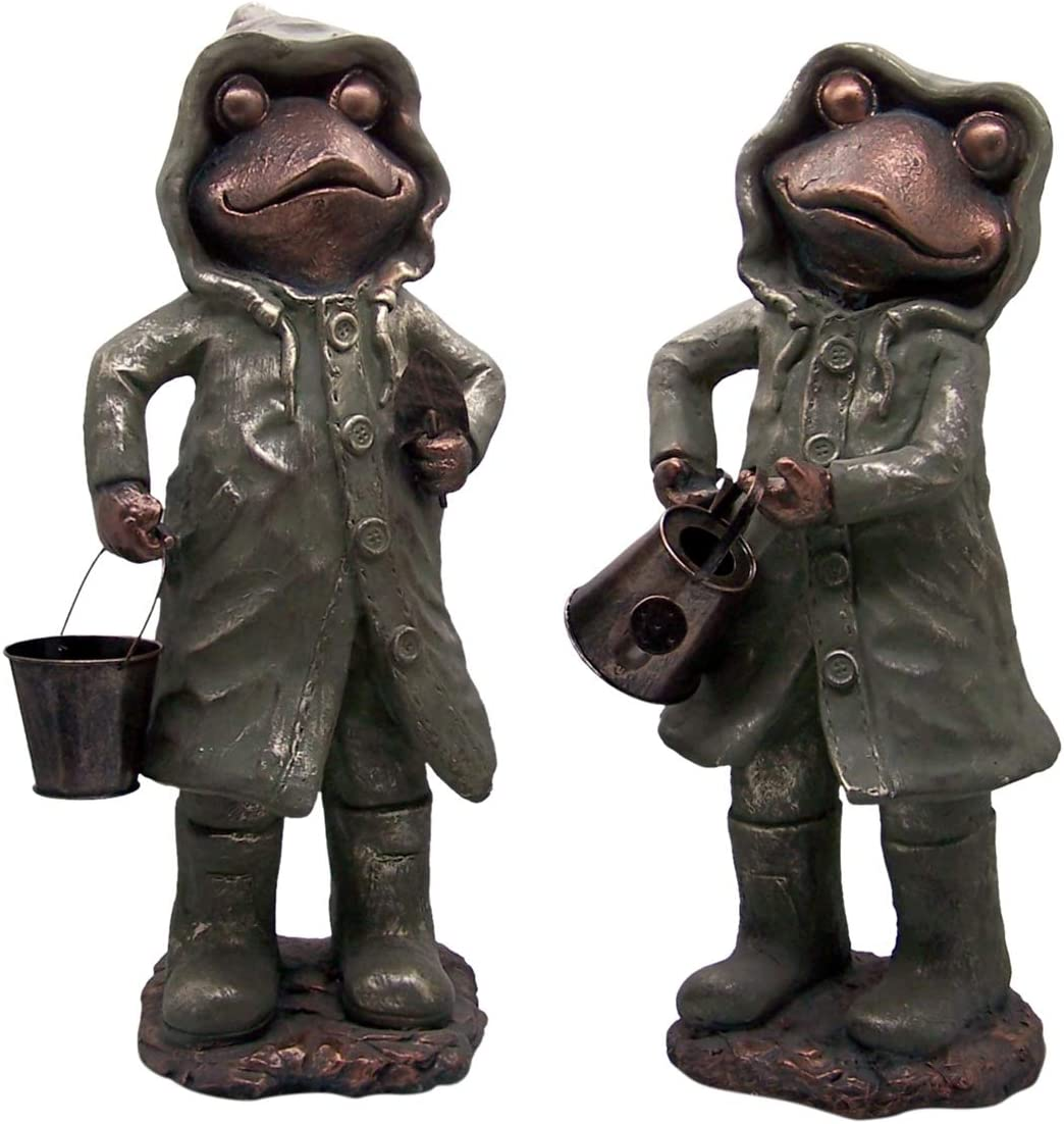Wowser Giant Garden Frogs with Watering Can and Bucket Outdoor Garden Statues, Set of 2, 24 3/4 Inch