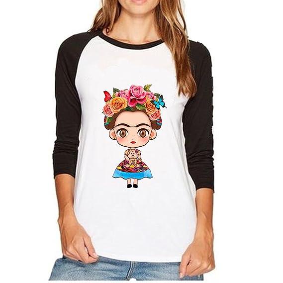 ZMLIA Frida Kahlo - Playera de Manga Larga para Mujer 26e99626cbfe0