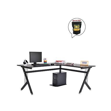 En forma de L para ordenador PC portátil mesa estación de trabajo madera hogar oficina W