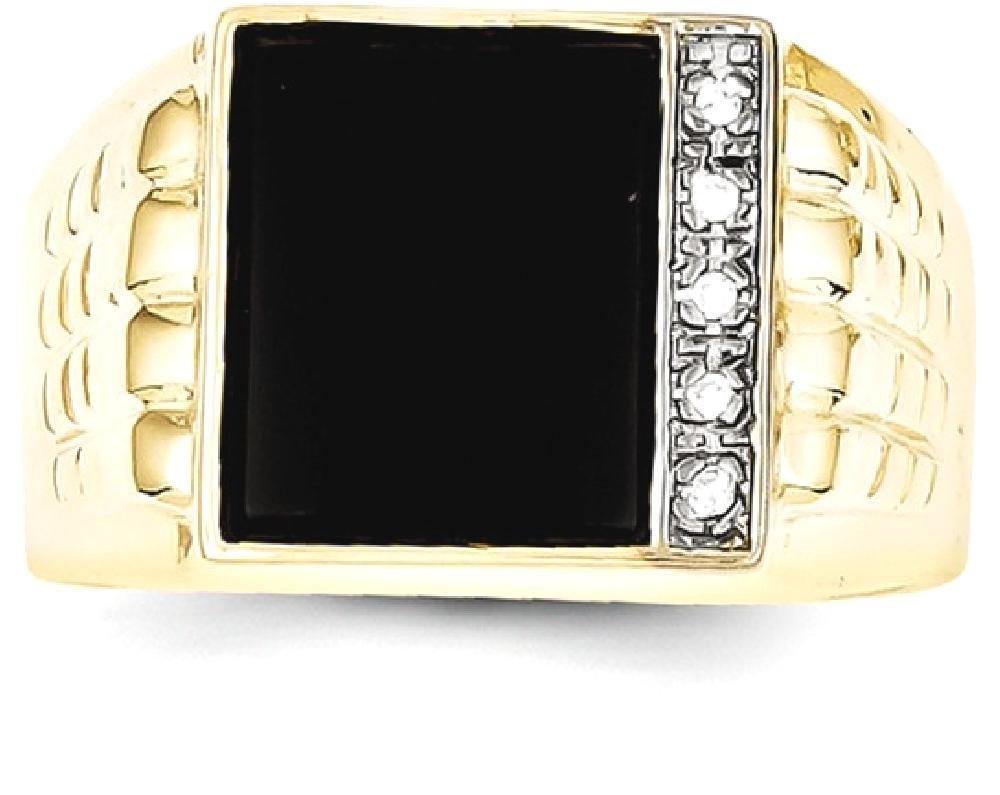 ICE CARATS 10k Yellow Gold Black Onyx .03ct Diamond Mens Band Ring Size 10.00 Man Fine Jewelry Dad Mens Gift Set
