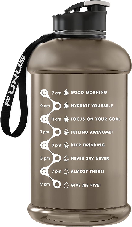 FUNUS Half Gallon Water Bottle Motivational Water Bottle with Time Marker, Big BPA Free Water Jug with Handle, Reusable Leak Proof Bottle for Men Women Sports, Workout, Camping (Transparent Black)