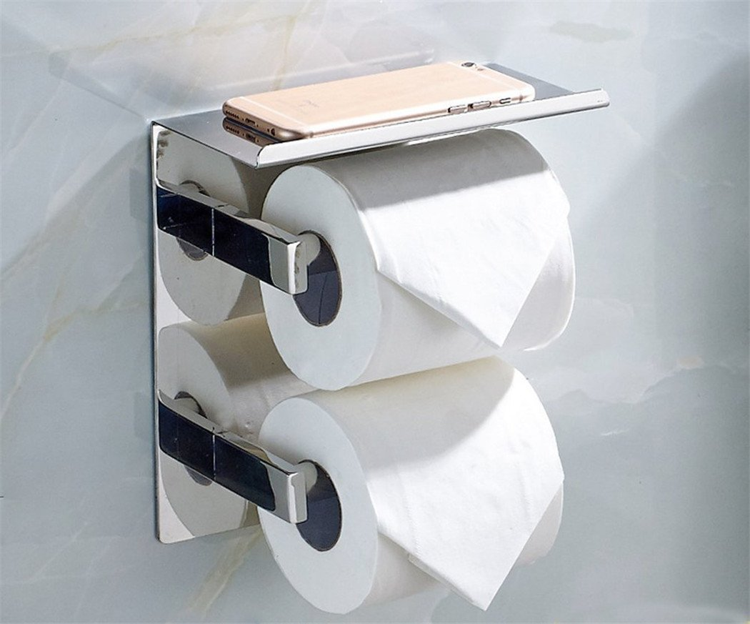 WINCASE Luxury SUS 304 Stainless Steel Toilet Paper Holder with Mobile Phone Storage Shelf Storage Rustproof Waterproof Bathroom Kitchen, Polished Chrome Finish Wall Mounted Tissue Roll Hanger