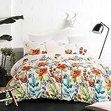 Vaulia Lightweight Microfiber Duvet Cover Set, Colorful Floral Print Pattern, White Multi-Color - Queen Size