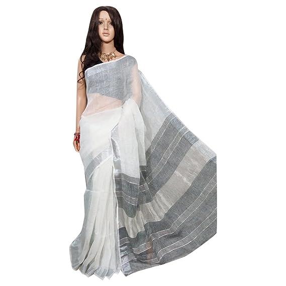 Amazon.com: Tradicional Handloom lino Saree trabajo de tejer ...