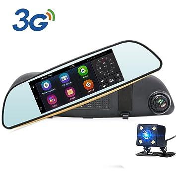"""Junsun 6.86"""" Espejo Retrovisor para Coche 3G GPS Navegador de la Rociada Cam HD 1080P"""