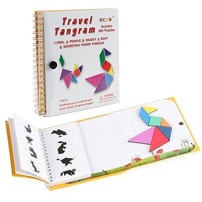 Coogam Magnétique Voyage Tangram Puzzles Livre Jeu Tangrams Jigsaw Formes Dissection avec Solution pour Enfant Adulte Vacances Tangos Voyageur Défi IQ Jouet Éducatif (360 Patterns)