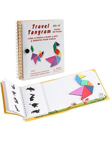 Coogam Viaje magnético Tangram Puzzles Libro Juego Tangrams Jigsaw Formas Disección con Solución para Niños Adulto