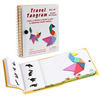 Coogam Tangram magnetici da Viaggio Tangrams Gioco Tangrams Jigsaw Shapes Dissezione con la Soluzione per Kid Adult Holiday Traveller Tangoes Challenge IQ Educational Toy (360 Patterns) TG170717