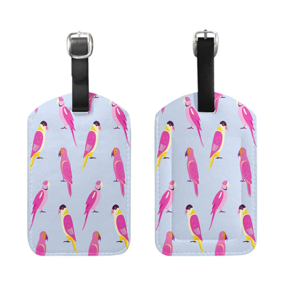 leather name ID tag with privacy cover Seamless pattern with colorful parrots-2-Piece Stylish Patterned Private Luggage Tag bescribe