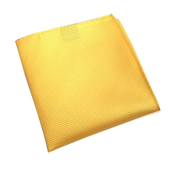 MENDENG Mens Yellow Plaid Pocket Square Formal Wedding Party Hanky Handkerchief