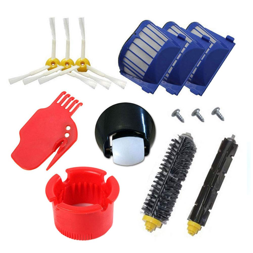 aotengou Vacuum Cleaner Accessories For iRobot Roomba 500 600 700 Series 529 550 595 620 625 630 650 660 760 770 780 790 Includes 1 pcs Front Wheel Caster, 2 pcs Side Brush, Bristle Brush and Flexible Beater Brush