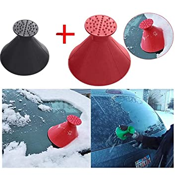 Car Windshield Snow Removal Outdoor Round Funnel Snow Shovel Tool for Cars and Trucks Scrape Red 2 in 1 Windshield A Round Cone Shaped Ice Scraper