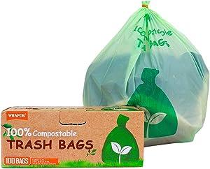 WRAPOK 100% Compostable Kitchen Trash Bags Biodegradable ASTM D6400 Disposable Food Waste Bag, 3 Gallon, Extra Thick 0.79 Mils, Kitchen Scraps Bag (100 Count)