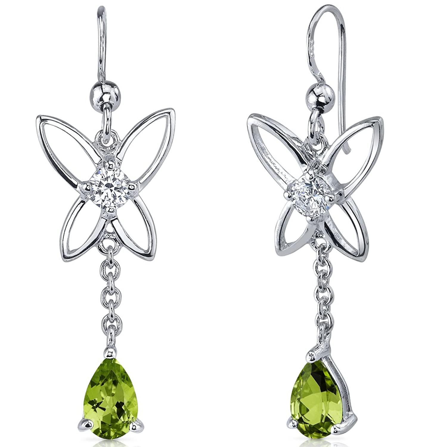 Peridot Dangle Earrings Sterling Silver Rhodium Nickel Finish Butterfly Design 1.50 Carats