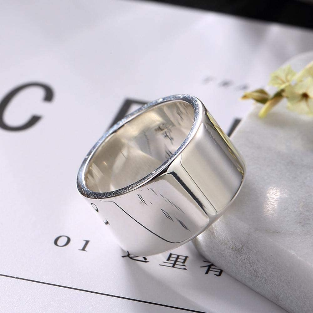 Daeou Open Ring S990 Sterling Silver Europe and The United States Simple Smooth Personality Men and Women Wide face Ring