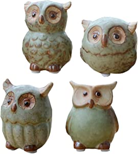 WOMHOPE 4 Pcs - Mini House Warming Gift Wise Owls Figurine Tabletop Shelf Ceramic Wise Home Decorative Collectible Figurine Statues (Green)