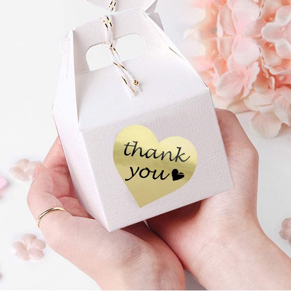 Wedding Gifts 500 per Pack 1.5 Heart Shape Decorative Stickers for Thank You Cards Thank You Stickers Gold Foil Labels Roll 2 Packages