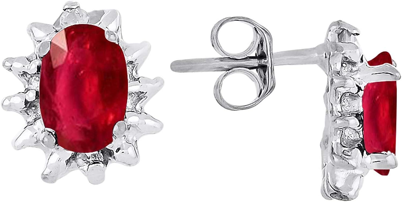 RYLOS - Pendientes de mujer con forma ovalada y piedras preciosas y diamantes brillantes auténticos en oro blanco de 14 K - 6 x 4 mm esmeralda, rubí y zafiro