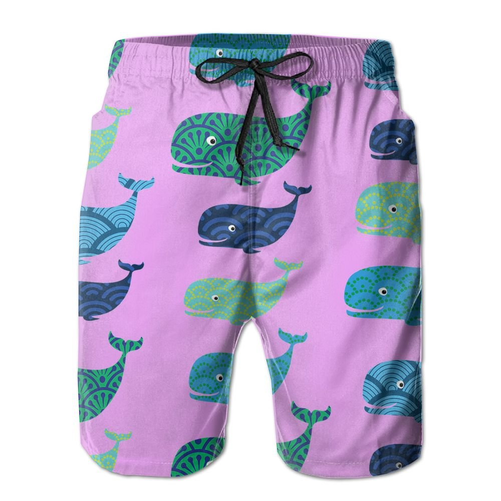 Cute Whale Pattern Mens Basic Boardshorts L With Pocket by OIYP