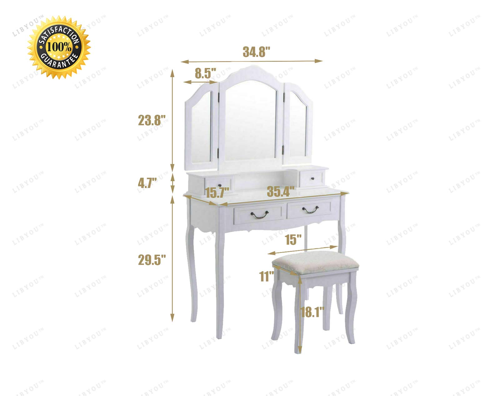 LIBYOU__Tri Folding Wood Mirror Vanity Set,Makeup Table Dresser, Drawers Stool Makeup Table,Drawer&Mirror Jewelry Wood Desk,Makeup Table Stool Set,Tri Folding Vanity,Makeup Dressing Table