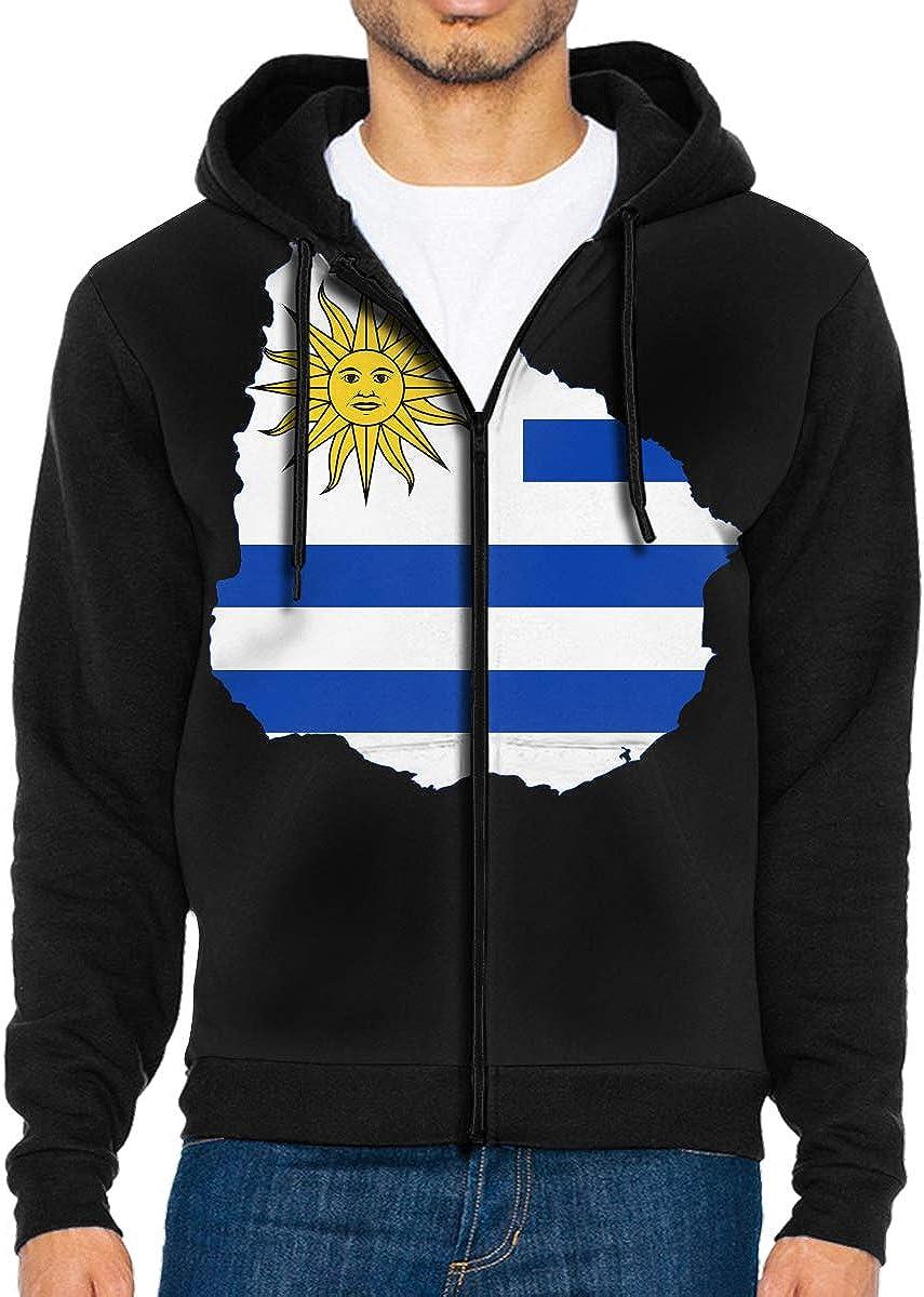 Uruguay Map Mens Full-Zip Up Hoodie Jacket Pullover Sweatshirt