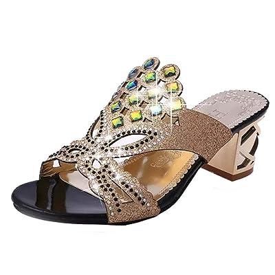 Amlaiworld Sandales Femmes, Été Mode Femmes Grands Sandales Strass Sandales à Talons Hauts Sandales de Plage Dames