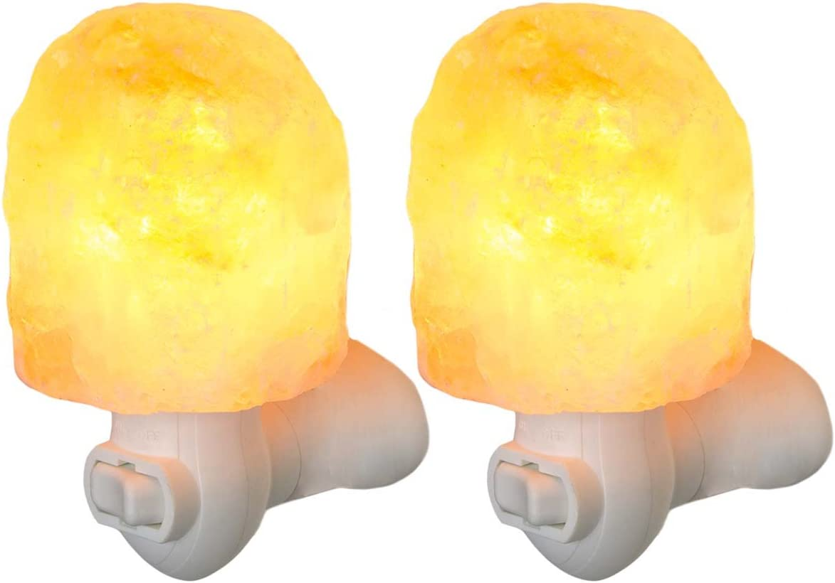 Simply Genius (2 Pack) Himalayan Salt Lamp Night Light, Natural Crystal With Bulb & Cord, Air Purifier