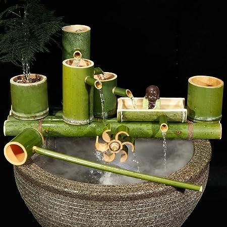 QXTT Fuente De Bambu Exterior Estatuas Fuentes Decorativas Interior Exterior para Jardín Decoración del Hogar Cascada Jardín Japonés Al Aire Libre Característica,80cm: Amazon.es: Hogar