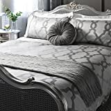 Gallery Direct Jaquard Quilt cover Set, Grey, Double by Gallery Direct