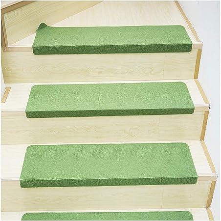 YXUD Alfombra Escalera - Escaleras con peldaños de escaleras con Respaldo de Caucho, Suave Antideslizante de Primera Calidad - 70x22cm,Green,10pieces: Amazon.es: Hogar