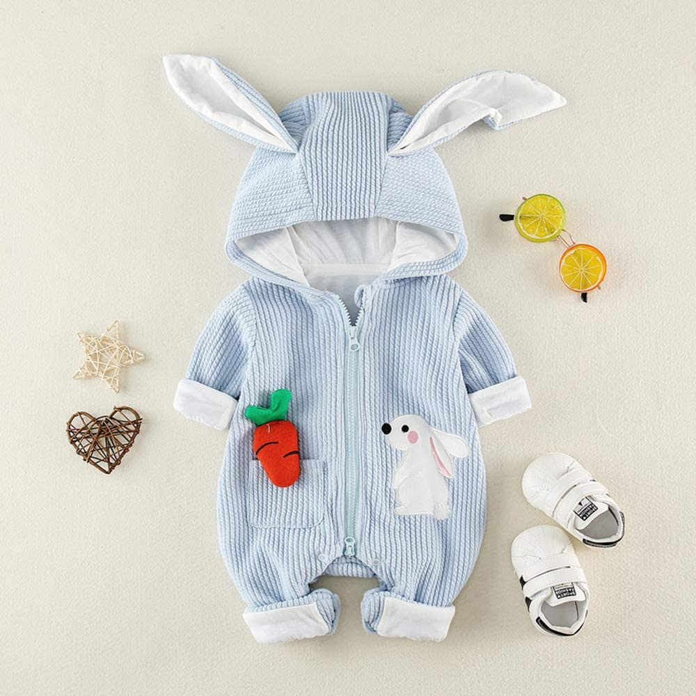 Feidoog Newborn Infant Baby Girls 3D Rabbit Ear Long Sleeve Hooded Outfit Clothing Bodysuits Onesies
